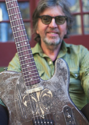 """05ab80ad James Trussart with his Rust-O-Matic Fleur de Lys SteelCaster guitar. 2013.  """""""